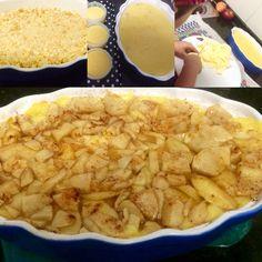 ¡Tarta de manzana facilísima y deli! Masa: galletitas solar molida. Relleno: postre de vainilla. Cubierta: manzana con canela y azúcar y mermelada de manzana para pintar