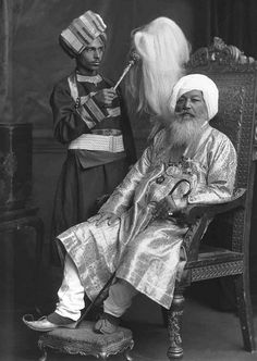 Baba Khem Singh Bedi (1830-1905) was the fourteenth spiritual head of the Sikhs by direct descent from the founder of their faith, Guru Nanak. c.1902 |  Sikhpoint.com
