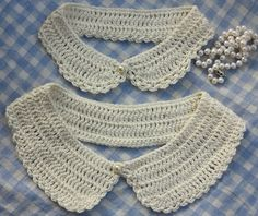 Peter Pan Collars made by bear loves dove. Based on this pattern www. Crochet Collar Pattern, Col Crochet, Crochet Lace Collar, Crochet Baby, Crochet Patterns, Knitting Patterns, Grunge Style, Soft Grunge, Golas Peter Pan