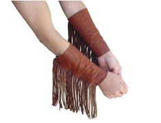 Fingerless Leather Fringe Cuffs Fashion Arm Gloves by ManoBello, $265.00