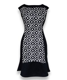 Peach Couture Black & White Diamond Sleeveless Dress by Peach Couture #zulily #zulilyfinds