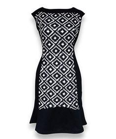 Peach Couture Black & White Diamond Sleeveless Dress by Peach Couture #zulily #zulilyfinds