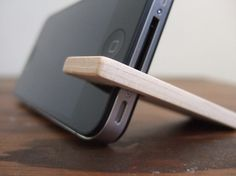 wood iPhone 4 and 4S stand  walnut with cream by yournestinspired
