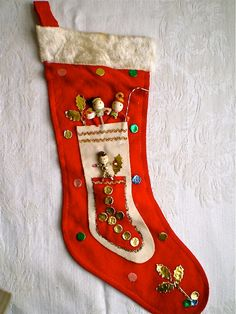 Christmas, Vintage Christmas Stocking, Decorations, Red Stocking, Snowman, Spun Cotton Decorations, Felt, Home Decor, 1950s, 1960's. $18.00, via Etsy.