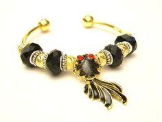 Black Koi Fish European Charm Cuff Bracelet - Black, Gold, & Silver - Swinging Tail, Mothers Day  - Free U.S. Shipping via Etsy