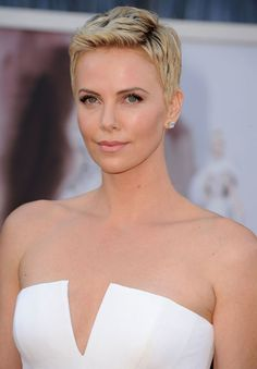 "Jaws dropped when Charlize debuted her gorgeous super-close crop on the Oscars red carpet. ""I have been obsessing over Charlize Theron's pixie,"" says Mapile. ""A cut like this is for that confident woman who demands attention. It shows off her beautiful features perfectly."""