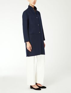 Max Mara FIUMANA midnightblue: Wool and angora coat.