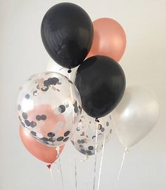 Welcome to Oh How Charming!  What makes Oh How Charming confetti balloons so special?! Each confetti balloon is hand pressed to order by myself at my in house studio in Florida! • This listing is for (2) black (2) pearl white (2) rose gold and (2) clear black, white and rose gold