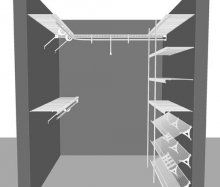 Walk in closet layout 9, 1.83m / 6' Square