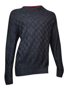 Geoffrey Beene Men's Solid Basketweave Sweater (Chocolate Heather, XLT)