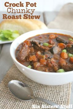 Come check out this Crock Pot Chunky Roast Stew!  It tastes so good! (And we are giving away an amazing Slow Cooker)