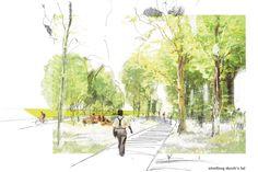 Preisgruppe: © realgrün Landschaftsarchitekten Landscape Architecture Design, Landscape Plans, Architecture Drawings, Architecture Plan, Urban Landscape, Landscape Drawings, Cool Landscapes, Rendering Art, City Sketch
