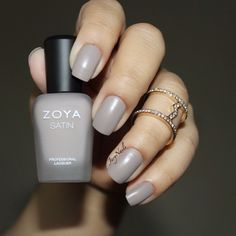 Zoya Rowan is a beautiful suede taupe from the Satins Collection