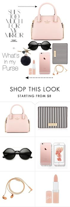 """""""What's in my purse"""" by eborders123 ❤ liked on Polyvore featuring Rika, Kate Spade, Henri Bendel, Happy Plugs and Rimmel"""