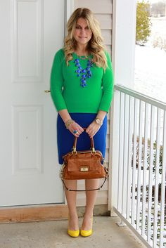 Vibrant Blue, Green, and Yellow Work Outfit Green Skirt Outfits, Black Dress Outfits, Casual Outfits, Cute Outfits, Vestidos Color Azul, Royal Blue Skirts, Mix And Match Fashion, Professional Outfits, Modest Fashion