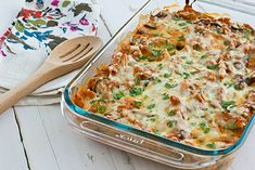 Healthy version of baked zitti loaded with veggies...... Baked ziti doesn't have to be over-loaded with cheese to taste good! This recipe has a creamy sauce, thanks to the addition of fat-free ricotta, and lots of sauteed veggies.