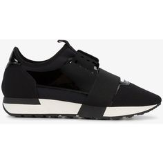 Balenciaga Black race runner sneakers (€560) ❤ liked on Polyvore featuring shoes, sneakers, footwear, black laced shoes, black sports shoes, black shoes, sports shoes and lacing sneakers