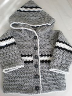 Sweet Baby Hoodie pattern by Bernat Design Studio : Ravelry: Project Gallery fo. - Sweet Baby Hoodie pattern by Bernat Design Studio : Ravelry: Project Gallery for Sweet Baby Hoodie pattern by Bernat Design Studio - Crochet Baby Sweaters, Crochet Baby Jacket, Crochet Hoodie, Crochet Cardigan Pattern, Hoodie Pattern, Crochet Baby Clothes, Baby Knitting, Knitted Baby, Baby Girl Cardigans