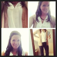 Interview Attire ... Hire Me!  Silk top, camel cardigan, pearls, BLACK PANTS, and ankle boots.  Instagram follow: catherinefarley