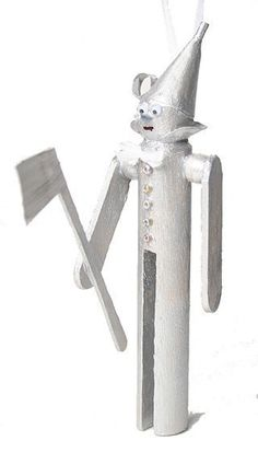 Tin man clothespin doll