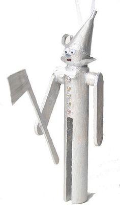 Tin man clothespin doll