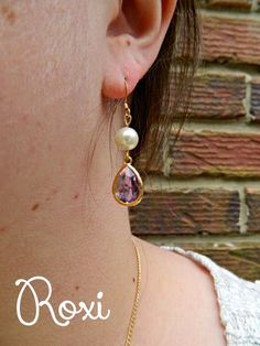 Purple and Pearl Earrings | Roxi Collection