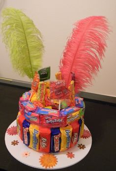 Candy Cake with feather/flower  decorations