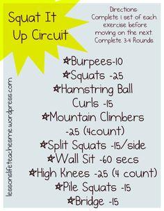 Squat It Up Circuit butt exercis, leg workout, squats, circuit