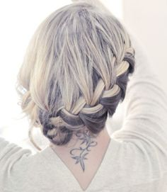 I like that two-colored braid... red and what? Blonde?