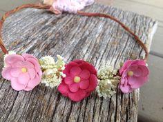 Baby flower crown, Birthday halo, toddler halo, flower girl crown, hippie headband for little girls on Etsy, $20.00