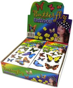 butterfly temporary tattoos Case of 96