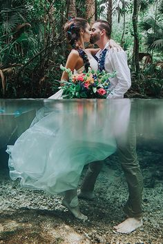 With bold tropical flowers to contrast the rainforest greenery, this underwater wedding shoot is a great idea for an adventurous couple who wants to elope but still wants to remember a beautiful wedding with amazing attention to details. Wedding Poses, Wedding Photoshoot, Wedding Shoot, Wedding Dresses, Bridesmaid Gowns, Modest Wedding, Bridesmaids, Wedding Album, Wedding Attire