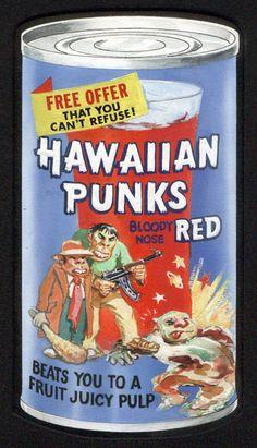 Hawaiian Punks Wacky Packages original artwork.
