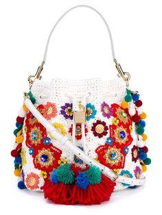 Dolce & Gabbana Claudia Pompom Python Skin And Raffia Bucket Bag Floral Shoulder Bags, Shoulder Strap Bag, Shoulder Handbags, Crochet Handbags, Crochet Purses, Dolce And Gabbana Handbags, Designer Shoulder Bags, Boho Bags, White Handbag