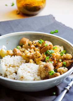 Teriyaki Chicken and Cauliflower is 30 minute healthy stir fry with chicken breast, cauliflower and homemade teriyaki sauce. | ifoodreal.com