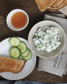 Best snacks for work: Ricotta, Herbs, and Cucumber.  Stir 1 tablespoon chopped fresh basil, parsley, or dill into 1/4 cup low-fat ricotta cheese. Season with salt, pepper, and lemon juice. Spread on toast; top with cucumber. Makes 1 serving (136 calories).
