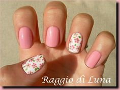 Raggio di Luna Nails: Little pink flowers