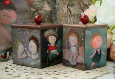 Купить Коробочки для секретиков - комбинированный, короб для хранения, баночка для кофе, баночка для чая, Короб для мелочей
