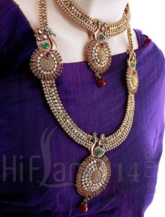 Wedding Bridal Jewellery Set with PeacockDesign and Colored Stones