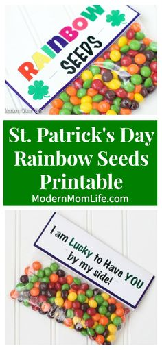 St. Patrick's Day Gift Treat Bags with Skittles and free printable. I gave these to people I am lucky to have in my life.  via @amodernmomlife