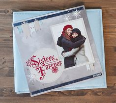 Disney Frozen Sisters Forever scrapbook page layout. Make It Now with the Cricut Explore machine in Cricut Design Space.