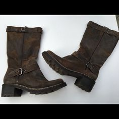 DONALD J. PLINER MOTO BOOTS, Sz 8 These incredible Moto boots were purchased at Nordstroms, sz. 8. They are beautifully distressed, made with super nice, soft leather in Brazil. A half size too small for me, so they have not been worn! Donald J. Pliner Shoes Combat & Moto Boots