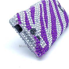 Click Image to Browse: $8.95 LG Lucid 4G VS480 Case - Purple Zebra Rhinestone Bling Hard Cover