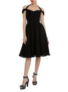 Hell Bunny Eveline Swing Dress, BLACK, Swiss dot pattern
