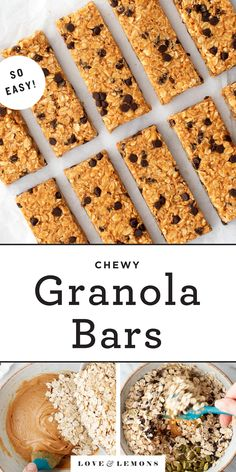 This homemade granola bar recipe makes the BEST granola bars ever! They're chewy, nutty, sweet, and easy to make! Naturally gluten-free, they're a perfect healthy snack. Best Granola Bars, Chewy Granola Bars, Chocolate Chip Granola Bars, Healthy Granola Bars, Homemade Granola Bars, Mini Chocolate Chips, Snacks Homemade, Vegan Snacks, Snack Recipes