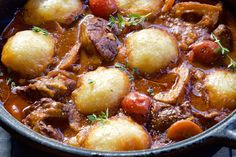 Beef Shin Stew with Parmesan Dumplings - Make delicious beef recipes easy, for any occasion Beef Dishes, Rice Dishes, One Pot Meals, Easy Meals, Beef Recipes, Savoury Recipes, Dumplings, Soup And Salad, Pot Roast