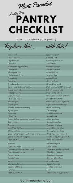 A full pantry checklist for re-stocking your pantry essentials with healthier, lectin free options.