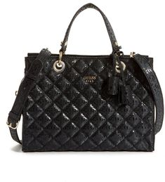 df8d572b1f GUESS Seraphina Quilted Satchel Leather Satchel, Louis Vuitton Damier,  Handbag Accessories, Leather Pouch