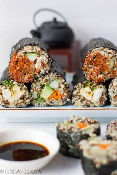 Home made sushi made with quinoa? yes please :) Oh and 5+ more quinoa recipes for your weekly quinoa fix ! http://wholesome-cook.com/2012/11/22/quinoa-sushi-rolls-plus-5-other-cool-quinoa-recipes/