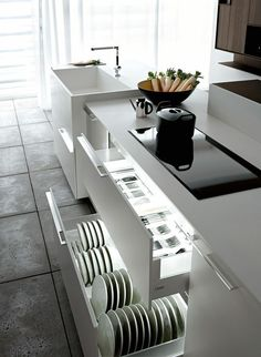Stacking plates vertically might make sense with our tall kitchen drawers.